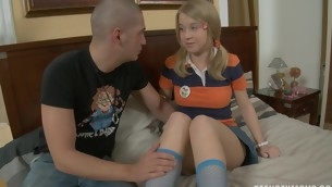 Blond studies a big throbbing dick for say no to home lessons