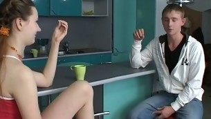Sex allure legal age teenager chick kneels and performs wonderful oral-sex.