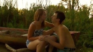 Stunning legal years teenager pair are having steamy hawt sex at the lakeside