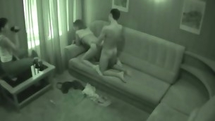 Watch action from spy camera placed in a B & B room now