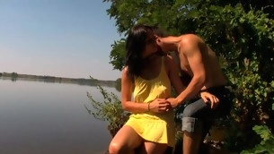 Peripheral exhausted lawful age teenager sex happens by the large lake with a lawful age teenager gut