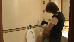 Legal Age Teenager fucking takes nomination in a diminutive washroom with a hawt blond