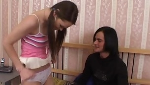 Skillful clothes-horse doesn't mind having legal age teenager sex with a hawt dark brown