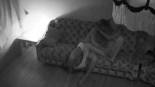 Horny whore starts riding the brush partner's impetuous dick on the sofa