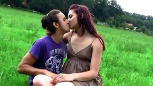 Filthy dark brown strips and gets fucked by fuckmate on the grass
